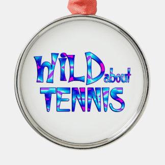 Ornement Rond Argenté Sauvage au sujet du tennis