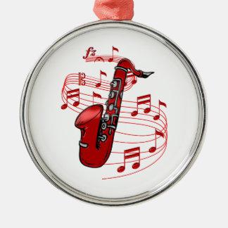 Ornement Rond Argenté Saxo rouge avec des notes de musique