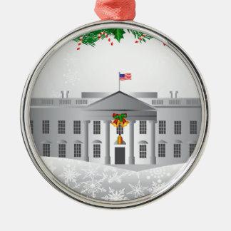 Ornement Rond Argenté Scène de Noël de la Maison Blanche de Washington