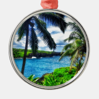 Ornement Rond Argenté Scène du Hawaïen IMG_1122 4