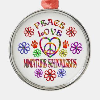 Ornement Rond Argenté Schnauzers miniatures d'amour de paix