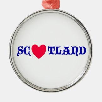 Ornement Rond Argenté Scotland love