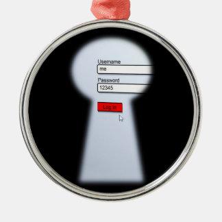 Ornement Rond Argenté Sécurité de mot de passe