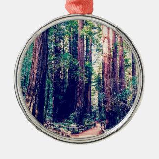 Ornement Rond Argenté Séquoias de Californie