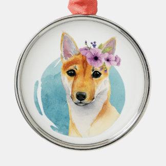Ornement Rond Argenté Shiba Inu avec la peinture d'aquarelle de couronne