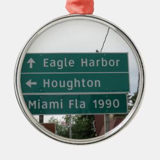 Ornement Rond Argenté Signe de Miami