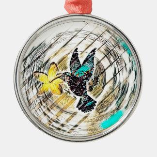 Ornement Rond Argenté Silhouette de colibri