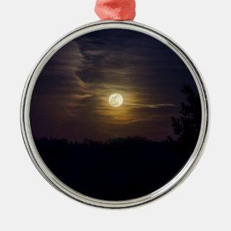 Ornement Rond Argenté Silhouette de lune