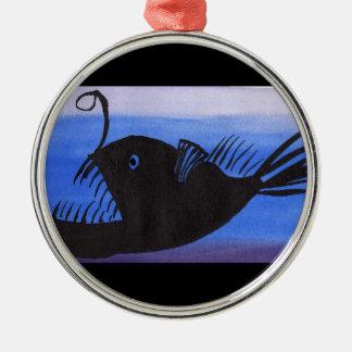 Ornement Rond Argenté Silhouette de poissons de pêcheur à la ligne