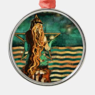 Ornement Rond Argenté Sirène par la mer avec la lune et les étoiles