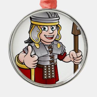 Ornement Rond Argenté Soldat romain de personnage de dessin animé