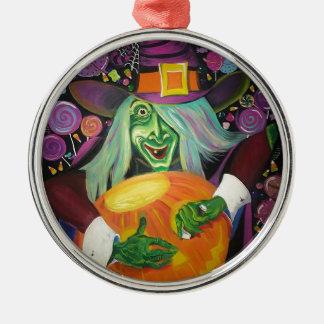 Ornement Rond Argenté Sorcière de Halloween