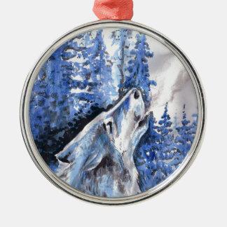 Ornement Rond Argenté Souffle bleu de froid de loups d'hiver de loup de