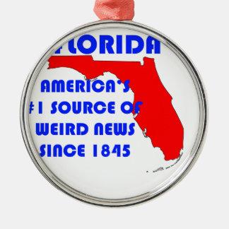 Ornement Rond Argenté Source de la Floride #1 pour de nouvelles étranges
