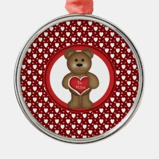 Ornement Rond Argenté Soyez le mien, ours debout de Valentine, coeurs,