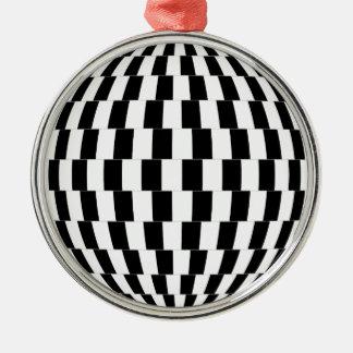 Ornement Rond Argenté Sphère d'illusion optique de damier
