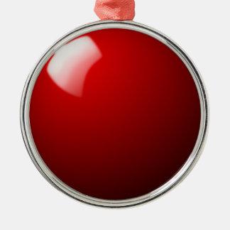Ornement Rond Argenté Sport rouge de Tableau de boule de billard