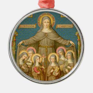 Ornement Rond Argenté St Clare d'Assisi et des nonnes (SAU 27)
