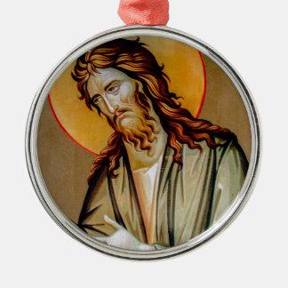 Ornement Rond Argenté St John l'icône orthodoxe de Noël de baptiste
