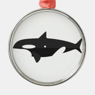 Ornement Rond Argenté Style de primitif de baleine d'orque