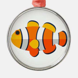 Ornement Rond Argenté Style de primitif de poissons de clown