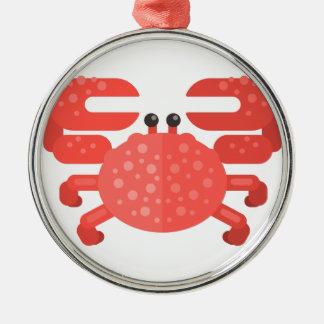 Ornement Rond Argenté Style rose de primitif de crabe