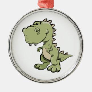 Ornement Rond Argenté T-Rex