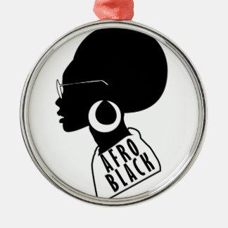 Ornement Rond Argenté T-shirt AFRO de cadeau de noir d'Afro-américain