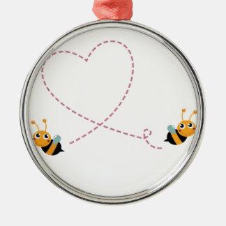 Ornement Rond Argenté T-shirt de CONCEPTEURS avec des abeilles d'amour