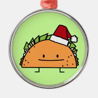 Ornement Rond Argenté Taco portant le Salsa de viande de coquille de