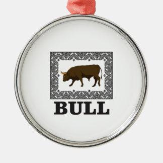 Ornement Rond Argenté taureau brun encadré