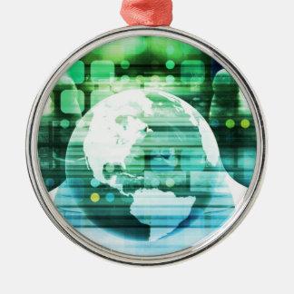 Ornement Rond Argenté Technologie futuriste de la Science comme art de
