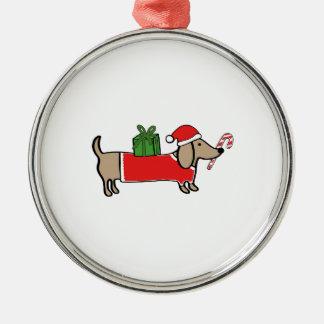 Ornement Rond Argenté Teckel de Noël