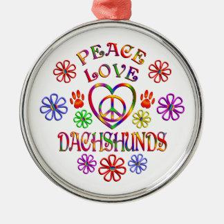 Ornement Rond Argenté Teckels d'amour de paix