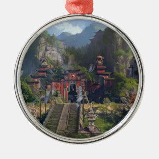 Ornement Rond Argenté Temple de Taoist