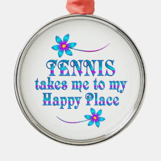 Ornement Rond Argenté Tennis mon endroit heureux