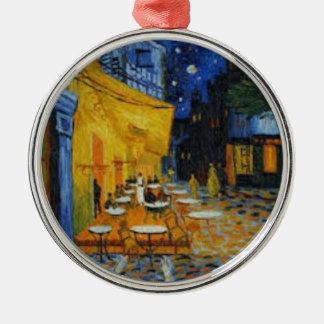 Ornement Rond Argenté Terrasse de Café le nuit de Vincent Van Gogh