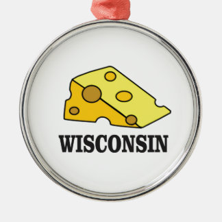 Ornement Rond Argenté Tête de fromage du Wisconsin