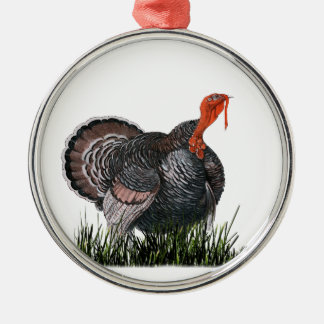 Ornement Rond Argenté Thanksgiving Turquie