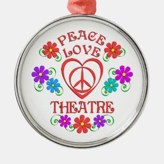 Ornement Rond Argenté Théâtre d'amour de paix