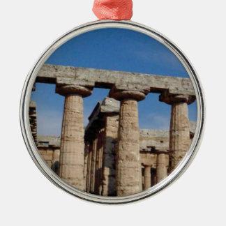 Ornement Rond Argenté tours de marbre de la Grèce antique