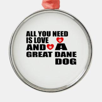 Ornement Rond Argenté Tous vous avez besoin des conceptions de chiens de