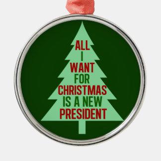 Ornement Rond Argenté Tout que je veux pour Noël est un nouveau