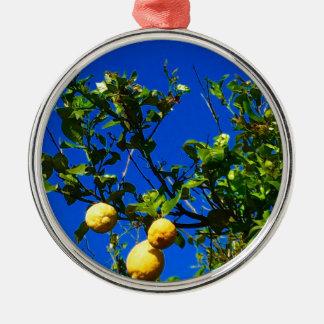 Ornement Rond Argenté Trois citrons siciliens