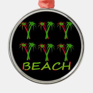 Ornement Rond Argenté trois palmiers colorés
