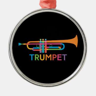 Ornement Rond Argenté Trompette vibrante dans des couleurs d'arc-en-ciel
