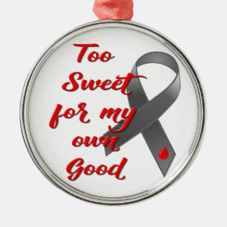Ornement Rond Argenté Trop doux - cadeau de ruban de diabète