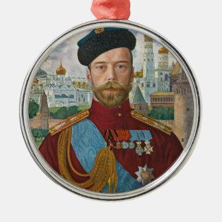 Ornement Rond Argenté Tsar Nicholas II