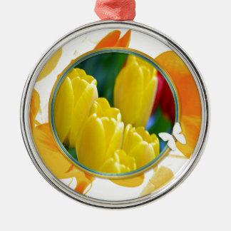 Ornement Rond Argenté Tulipes jaunes dans le cadre rond coloré