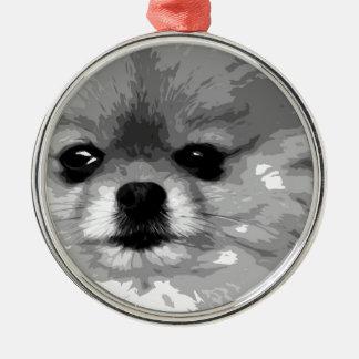 Ornement Rond Argenté Un Pomeranian noir et blanc